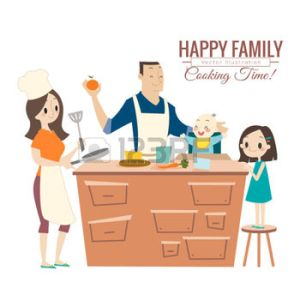 46909431-happy-family-with-parents-and-children-cooking-in-kitchen-vector-cartoon-illustration
